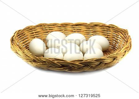 Duck Eggs In The Basket Isolated On White Background