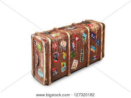 Leather suitcase of a traveler with travel stickers