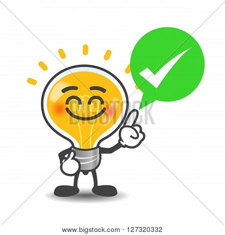 Bulb lamp cartoon isolated say no with red speech bubble on the white background vector illustration