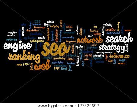Concept or conceptual search engine optimization, sea abstract word cloud isolated on background