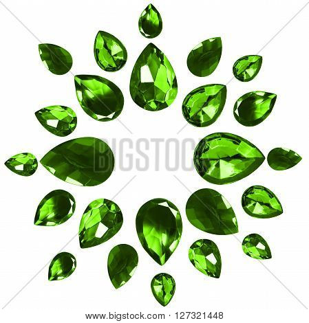 Group of faceted green gems on white background