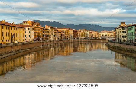 Cityscape of Pisa view of River Arno Tuscany, Italy