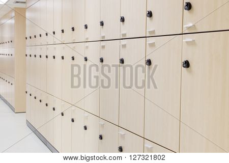 The Modern wood Interior of a locker