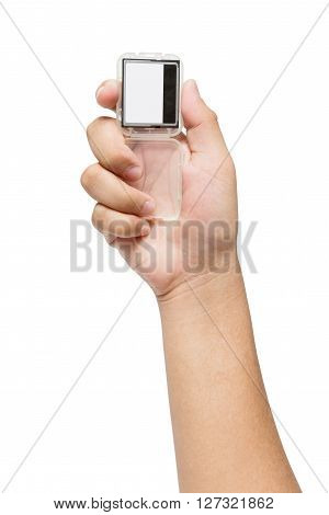 Hand holding Compact Flash Memory Card isolate on white background