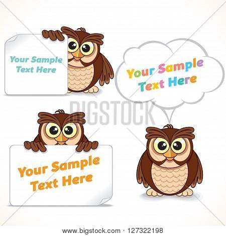 Funny Cartoon Character Owl Showing Blank Banner and Sign. Advertising Image Ready for Your Text and Design.