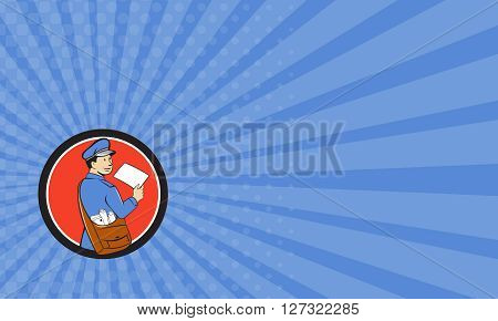 Business card showing llustration of a mailman postman delivering a letter looking to the side viewed from rear set inside circle on isolated background done in cartoon style.