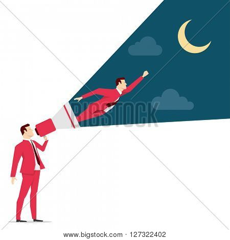 Red suit businessman. Motivation. Vector concept illustration.
