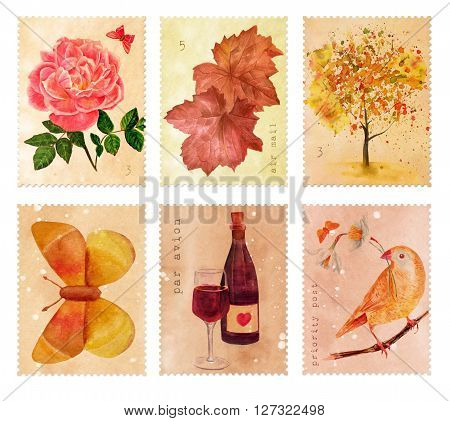 Set of stamps to be used as design elements with watercolor rose butterfly leaves and bird hand painted in vintage botanical art style; other stamps have tree and wine bottle and glass