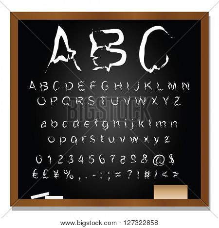 Concept or conceptual set or collection of white handwritten, sketch or scribble font isolated on blackboard black background