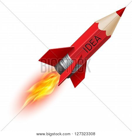 Creative design concept with red pencil as flying rocket on white background
