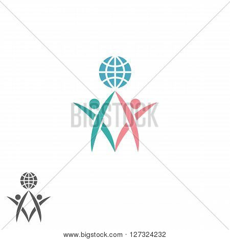 Partnership logo atlas silhouette two men together hold globe success teamwork emblem global social community icon