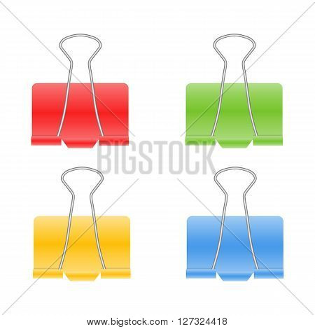 Color binder clips vector illustration isolated on a white background