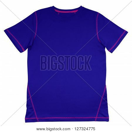 T-shirt Blue With Pink Seam