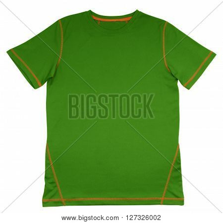 T-shirt Green With Orange Seam
