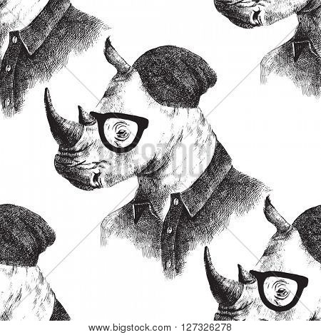 Hand drawn seamless pattern with dressed up rhino in hipster style