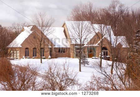 Beautiful Brick Home In The Country In Winter