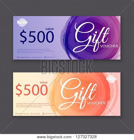 Gift Voucher Template With Watercolor, Gift Certificate. Background Design Gift Coupon, Voucher, Cer