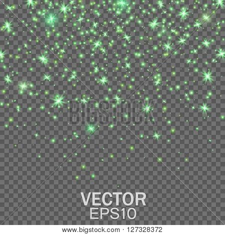 Star Effects, Stardust on a transparent background, Falling Star, Glow light effect, Golden lights. Vector illustration EPS10