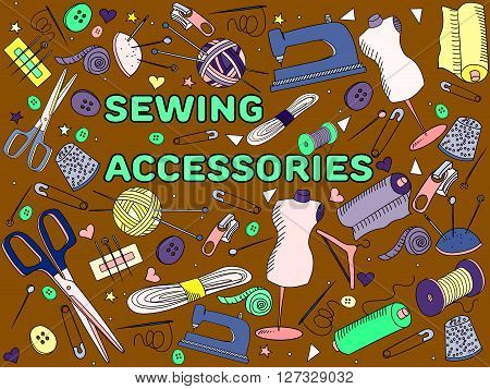 Sewing accessories line art design vector illustration. Implement separate objects. Hand drawn doodle design elements.