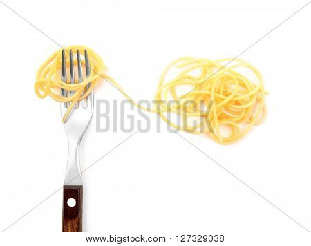 Cooked spaghetti with fork, isolated on white