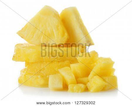 Sliced fresh pineapple isolated on white