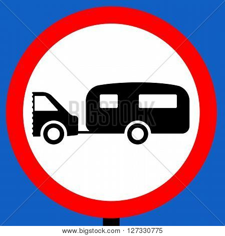 An illustration of a No towed caravans traffic sign