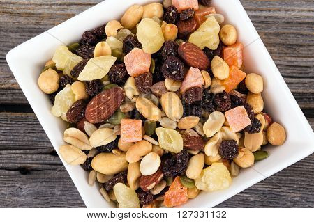 Trail Mix bowl with dried fruits and nuts