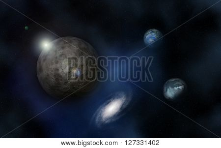 3D render of a space background with nebula and fictional planets