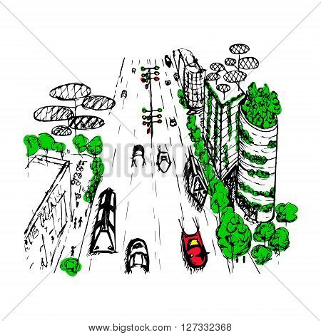 An outline sketch of an eco city of the future. A partially painted hand drawn vector illustration.