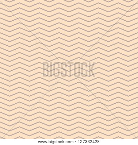 Chevron thin zigzag cream and beige seamless pattern. Vector geometric monochrome striped background. Zig zag wave pattern. Chevron classic ornament.