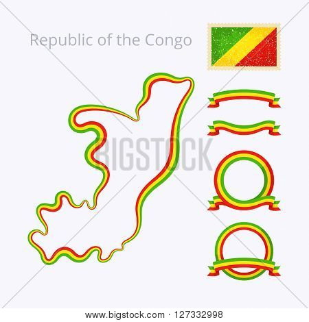 Outline map of Republic of the Congo. Border is marked with ribbon in national colors. The package contains frames in national colors and stamp with flag.