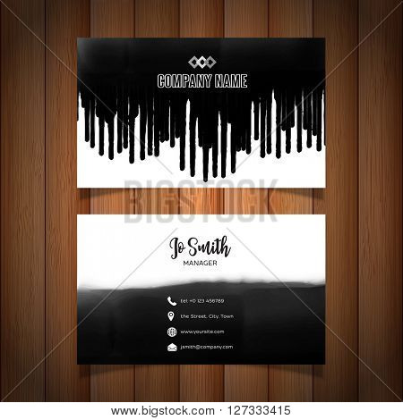 Grunge style business card with black paint drips design