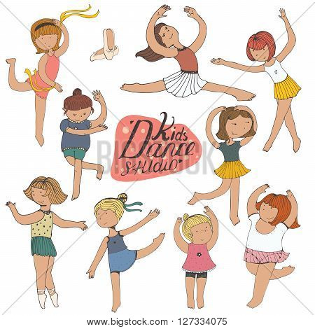 Set of dancing young girls isolated on white fun kind brightly colored. Kids in different dynamic poses with raised hands and dancing legs. Characters in different age complexion thin plump
