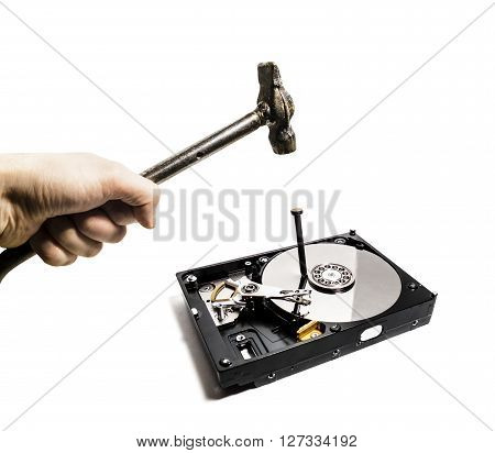 A hammer hits a nail into the hard drive from the computer on white background