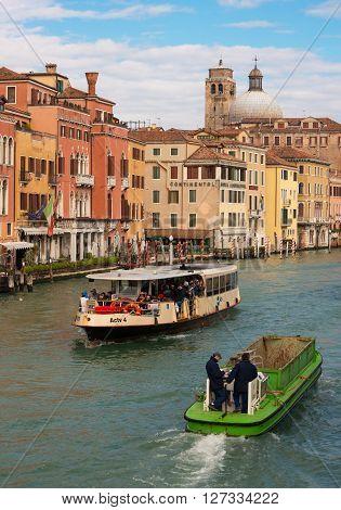Venice, February of 2014, Friuli Venezia Giulia region, Italy, Two floating ships in Grand Canal