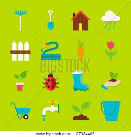 Spring Garden Flat Objects Set With Shadow