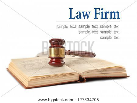 Gavel and book isolated on white. Law firm concept