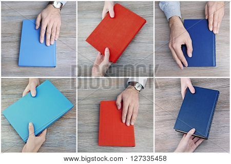 Man hands holding different books on wooden background in collage