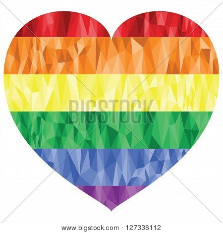 Gay and lesbian people rainbow sign in low poly art heart shape