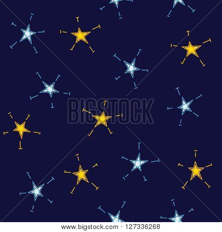 Star seamless pattern on blue background. Can be used for children wallpapers
