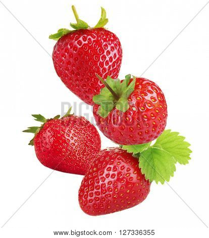 Falling ripe strawberries isolated on white