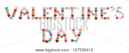 Cookies inscription Valentine's Day, isolated on white