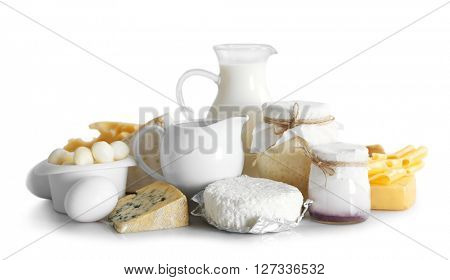 Set of fresh dairy products , isolated  on white