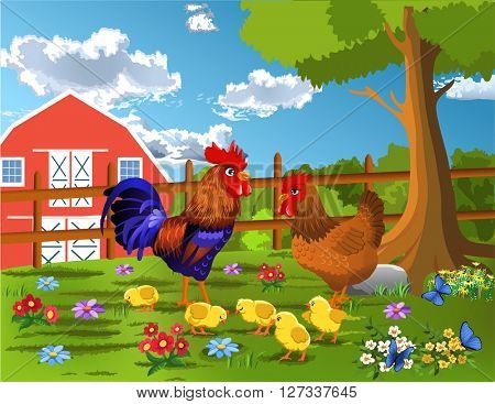 rooster, hen and chicken at the farm
