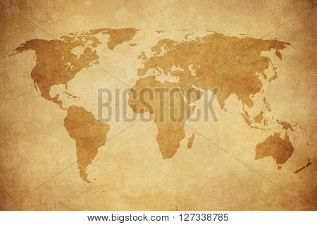 Highly detailed image of grunge map of the world