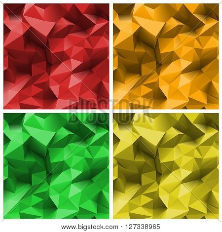 Set of  four bright colored abstract Triangle Backgrounds