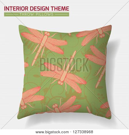 Decorative Throw Pillow design vector template. Original Dragonfly & Floral motif pattern is complete masked. Interior design element. Creative Sofa cushion. Vector design is layered editable