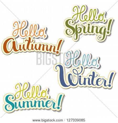 Set of four  positive lettering compositions seasons theme
