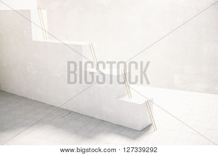 Stairway with ladders inside concrete interior. 3D Rendering