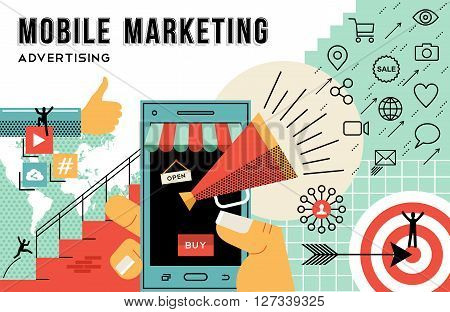 Mobile marketing concept illustration achieve your business goals in advertising. Flat art outline style elements related social media and ecommerce web technology. EPS10 vector.